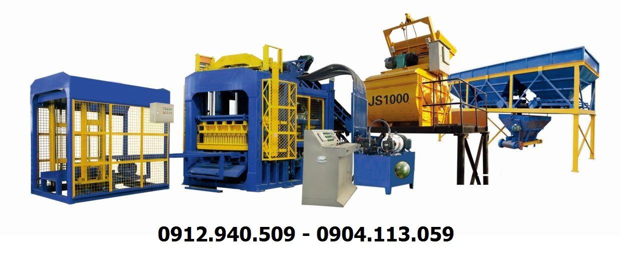 Dây chuyền sản xuất gạch không nung xi măng cốt liệu công nghệ ép rung thủy lực QTY12-15