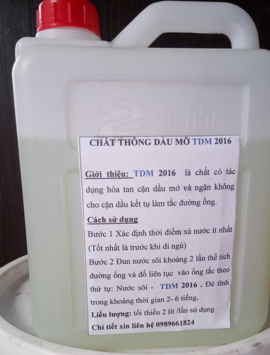 TDM 2016 chất thông tắc cặn dầu mỡ trong hệ thống ống thoát nước